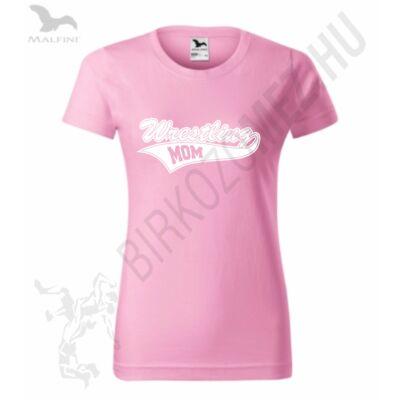 Női kerek nyakú póló-rózsaszín-fehér