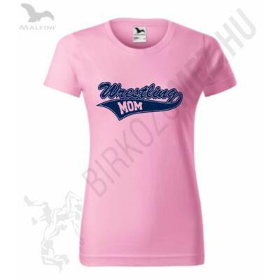 Női kerek nyakú póló-rózsaszín-s.kék