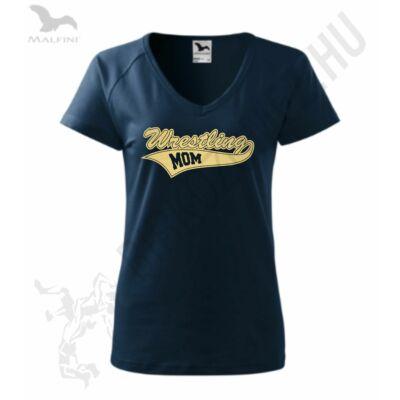 Női karcsúsított póló-sötétkék-arany