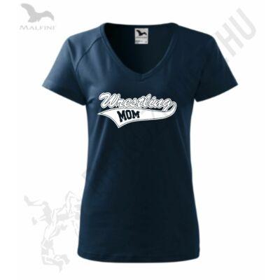 Női karcsúsított  póló-sötétkék-fehér