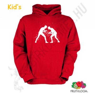 Felnőtt és gyerek kapucnis pulóver-piros,fehér
