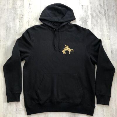 Férfi, arany mintás kapucnis pulóver - fekete