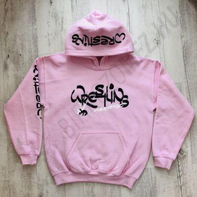 Felnőtt és gyerek kapucnis pulóver, wrestling fanatic-rózsaszín