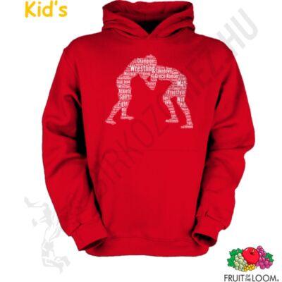 Kapucnis -zsebes pulóver-Szavas mintás-piros
