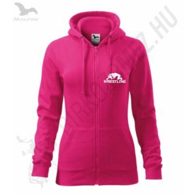Női kapucnis, cipzáros pulóver, új wrestling mintával, pink-fehér