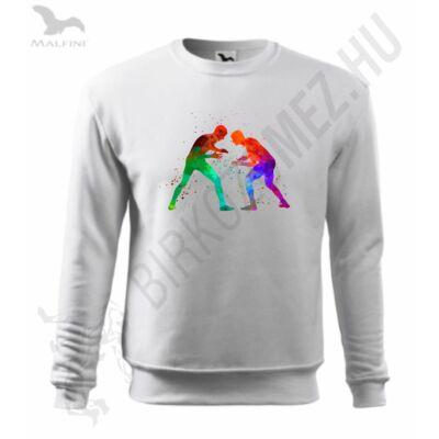 Gyerek kapucnis pulóver, fehér, watercolor