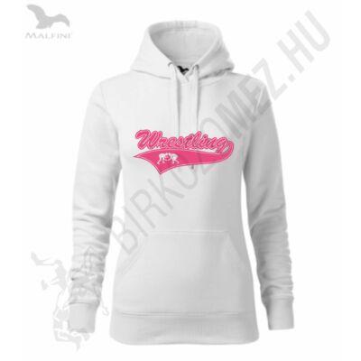 Női kapucnis pulóver, fehér- neon rózsaszín