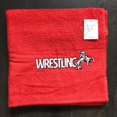 Közepes Wrestling feliratos Törölköző  -piros (70X140)