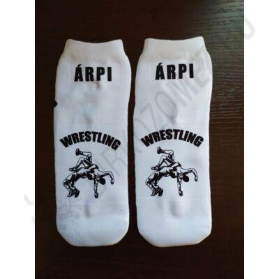 Fekete mintás zokni (rövid szárú) - EGYEDI NÉVVEL