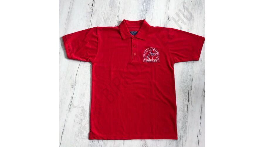 5b5b7c0723 Férfi hímzett galléros póló piros-M - FÉRFI - Birkózómez